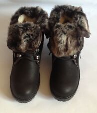 WOMENS WARM BLACK LACE-UP ANKLE BOOTS - FAUX FUR TRIM+FLEECE LINING -SIZE UK9