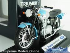 TRIUMPH BONNEVILLE T100 MOTORBIKE MODEL 1:18 SCALE BLUE/SILVER WELLY CLASSIC K8