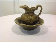 Vintage McCoy USA Pottery Water Basin Pitcher and Bowl Green Floral accent