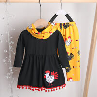 US Kids Baby Girls Long Sleeve Thanksgiving Clothes Turkey T-shirt+ Pants Outfit