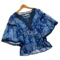 Free People Women's Daydreamer Blue Embroidered Lace Boho Top Size Small