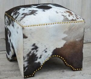 Handmade Vintage Country Style Cowhide Ottoman Pouf Pouffe Footstool Home Decor