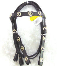 NEW Black Leather HORSE HEADSTALL & SPLIT REINS Silver Star Concho Browband NWT!