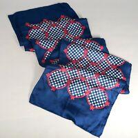 """Jantzen Vintage Scarf Silk Hand Rolled Hem Red White Blue Made in Japan 10 x 44"""""""
