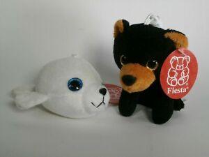 Black Bear and White Seal Key Chains Plush Stuffed Animal Toy Fiesta New