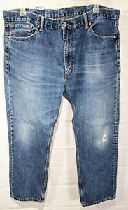 LEVI'S 505 Big Men's Med Wash Regular Fit Straight Leg Distressed Jeans sz 42x30