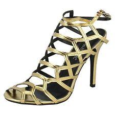 Ladies Anne Michelle Gold Heel Sandals F10512 Size 5