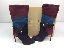 Burberry Pimlico Mahogany/red/Black Boots High Heel Tall US 7.5 / EU 37.5 Suede