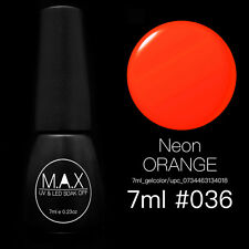 MAX 7ml Nail Art Color UV LED Lamp Soak Off Gel Polish #036-Neon Orange