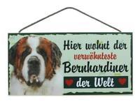 Bernhardiner Hunde Holzschild Türschild Tierschild Dog Wood Sign 25 cm