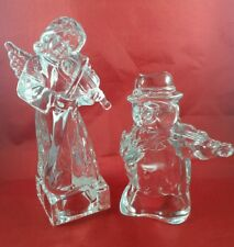 """1 """"MIKASA""""  8"""" NEW CRYSTAL ANGEL WITH VIOLIN  & 1 SNOWMAN  6"""" WITH VIOLIN EXC ."""