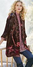 Soft Surroundings Shiori Jacket XL VELVET FLORAL KIIMONO  Silk  Lining