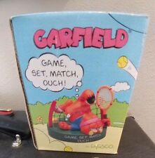 """Garfield Tennis Ceramic Figurine- """"Game, Set, Match, Ouch!"""" New in Box By Enesco"""