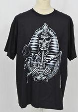 Para Hombre Negro Estampada Camiseta Rock Gótico Ciclista Cráneo egipcio Brillan en Oscuridad XL