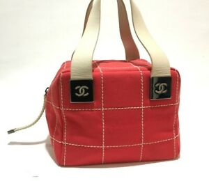 CHANEL Auth Chocolate Bar Canvas X Leather Mini Boston bag Used from Japan