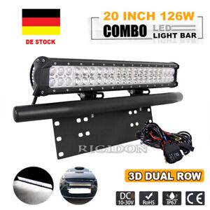 20 Zoll LED Lichtbalken Arbeitsscheinwerfer+Kennzeichenhalterung 12V Lightbar