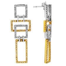 14K WHITE YELLOW GOLD PAVE DIAMOND GEOMETRIC STATEMENT DANGLE DANGLING EARRINGS