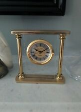Carriage Clock Mantle Modern Alarm Gold Tone Glass