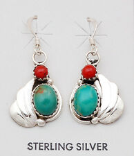 Navajo Handmade Sterling Silver with Turquoise and Coral Earrings