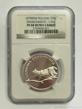 1979Mw Poland 100 Zlotych Silver Proof Coin Lynx Ngc Pf68 Ultra Cameo