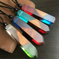 Vintage Resin Wood Color Random Colorful Pendant Handmade Chain Necklace Rope JP
