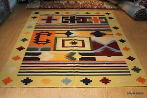 8'x10' Southwestern style Colorful hand woven kilim Hacienda Black, orange Rug