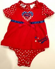 Supergirl 12 Month Red Romper for Halloween Costume Red, White, & Blue