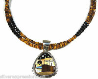 925 Sterling Silver Tiger's Eye Black Onyx Necklace w/ Multicolor Inlay Pendant