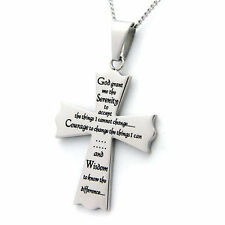 Serenity Prayer Cross Pendant High Polished Stainless Steel Necklace