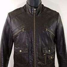 American Rag Cie Womens Faux Leather Motorcycle Jacket Cafe Racer Juniors Medium