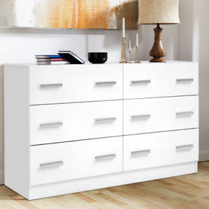 Artiss 6 Chest of Drawers Cabinet Dresser Table Tallboy Lowboy Storage White