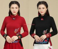 NEW Womens Chinese Embroidery Cotton Long Sleeve T-shirt Folk Floral Top Stretch