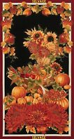 "24"" Fabric Panel Timeless Treasure Harvest Autumn Pumpkin Cornucopia Wallhanging"