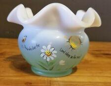 Fenton Fluted Opalescent Rosebowl Handpainted Daisies Bees Springtime Vintage