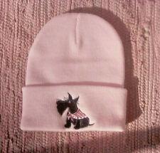 Scottie Scotty Dog Pink Embroidered Beanie