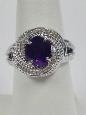 Sterling Silver Ring with Natural Amethyst and Natural Diamond