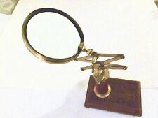 Vintage Brass Jeweler's Expandable Magnifying Glass Stand - made in India