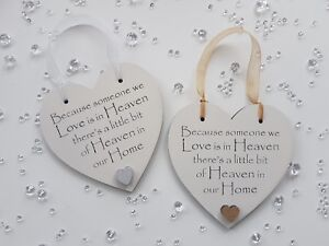 Because someone we love is in heaven heart hanging plaque funeral memorial gift