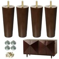 6 inch Furniture Legs Pack of 4 Wooden Sofa Couch Legs Walnut Color Bolt