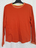 Ladies M&S ST MICHAELS Top Size 18 Orange Stretch 100% Cotton Long Sleeve