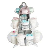 Metallic Gold Silver 3 Tier cardboard Cupcake Stand Display Tower Pastry Dessert