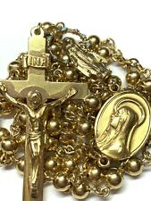 """† VINTAGE SIGNED YELLOW GOLD OVER STERLING ROSARY NECKLACE 26 1/2"""" 23.43 GRAMS †"""
