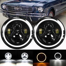 2x Dot 7 Inch Round Led Headlights Hilo Drl Lamp For Ford Mustang F 150 F 100 Fits Mustang