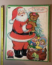 Vintage 1961 Whitman Christmas Frame Tray Puzzle Santa Sack Of Toys 1960s