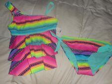 Girls Justice Multi Color Stripe One Shoulder Tankini Set  Size 10