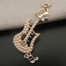 Rose Gold Plated White Faux Pearls Music Guitar Pendant Long Chain Necklace