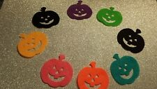 8 Felt die cut multi colour pumpkins heads applique toppers craft sewing card