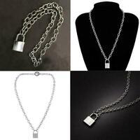 Simple Unisex Necklace Pendant Alloy Silver Golden Lock Retro Jewelry chain U5J8