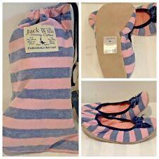 BNIB Jack Wills Elwin Flat Ballet Slipper Size M-L Pink/Grey  RRP £39.00
