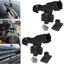 2x Adjustable Side Rail Mount Kayak Boat Fishing Pole Rod Holder Tackle Kit